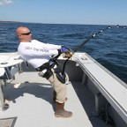Steve Palmo applying 50lbs+ of drag pressure to a 950lb giant bluefin tuna