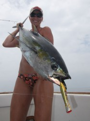 Tarin Keith with a big yellowfin tuna caught on a Sashimi Bull